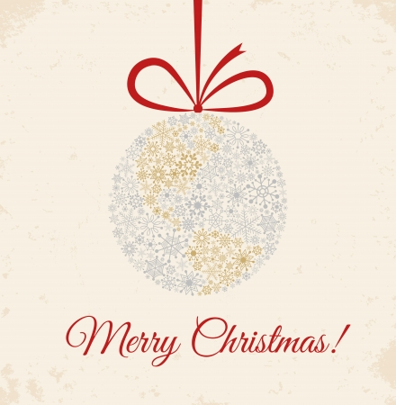 Christmas ball on beige background  Planet made from snowflakes with bow  Retro greetings card  일러스트