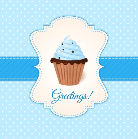 Vintage vector greetings card with blue cream cake