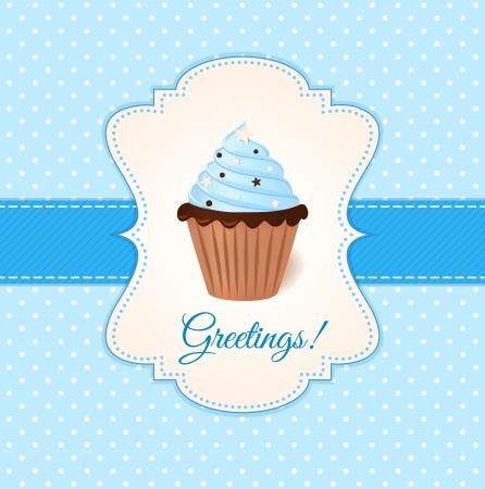Vintage vector wens kaart met blauwe crème taart Stock Illustratie