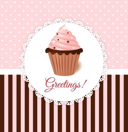 Vintage vector uitnodigingskaart met roze crème taart en kleur hagelslag Stock Illustratie