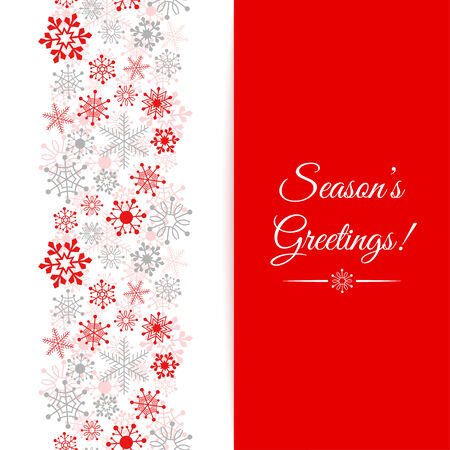 season greetings: Christmas greetings card  Border Christmas seamless pattern with snowflakes