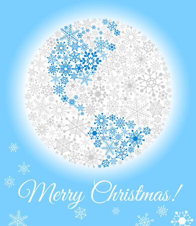 Planet made from snowflakes  Christmas card or background Stock Vector - 24027816