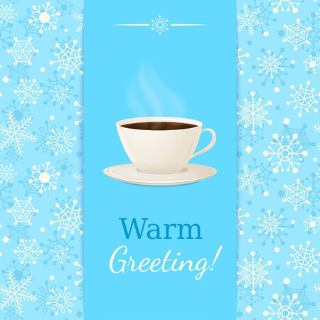 Vintage vector greetings card with cup of hot drink  Blue seamless snowflake background  Stock Vector - 24222834