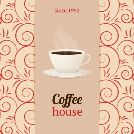 coffee house: Vector coffee house menu with cup of hot drink