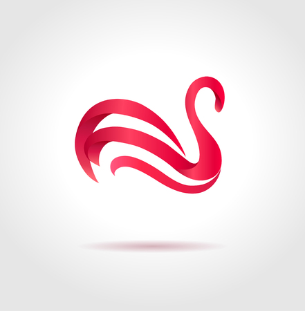 Pink swan on gray background  Creative abstract symbol  Luxury sign  Vector