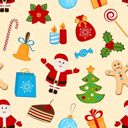 Color seamless pattern with different symbols of Christmas  Vector