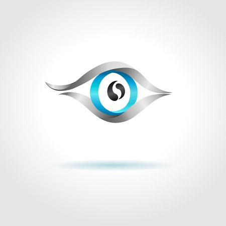 Abstract blue eye on gray background  Vector creative concept  Vector