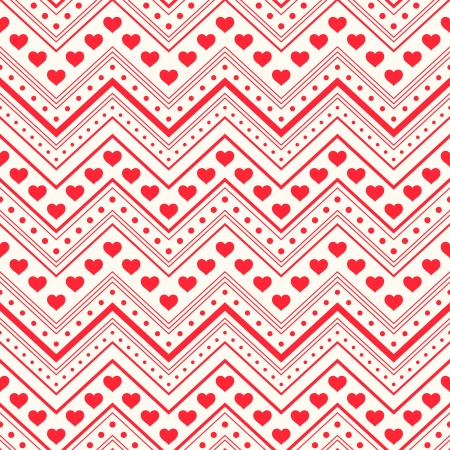 zigzag: Seamless pattern  Red hearts and lines on light background