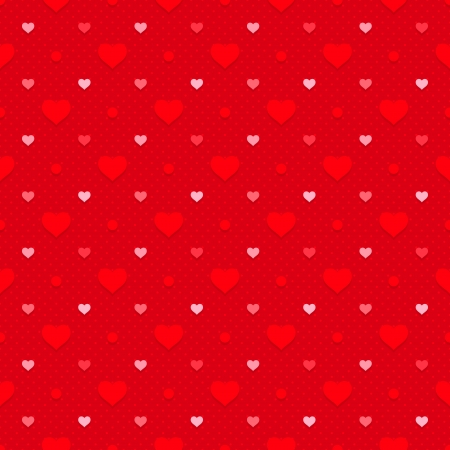 Retro seamless pattern  Hearts and dots on red dotted background Vector