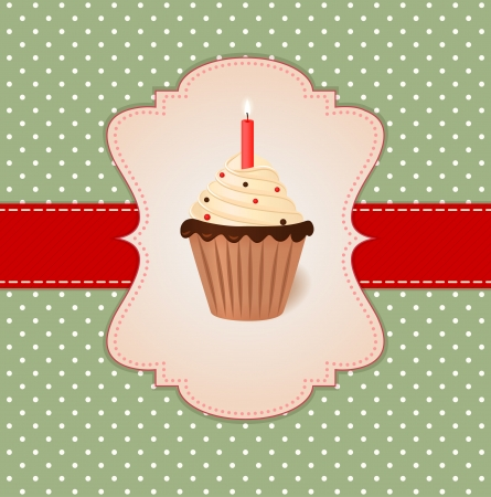 Cream cake with candle  Vector