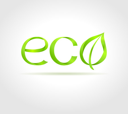 eco icon: Green word  Eco  with green leaf on gray