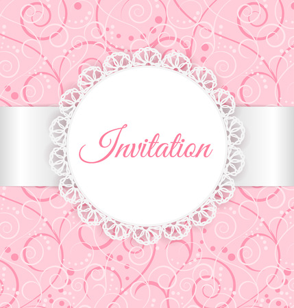 Vector lace frame with silver ribbon on swirl background  Vintage invitation card  Second layer - seamless pattern Vector
