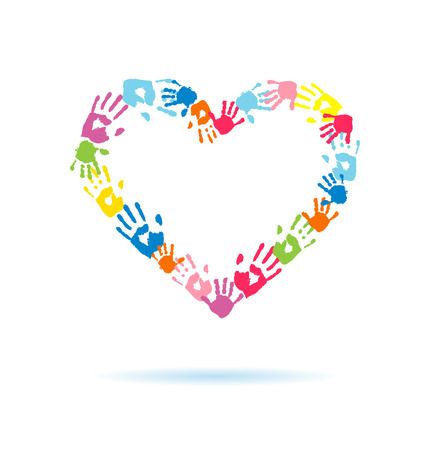 Corazón de las huellas de las manos de los padres y los niños Ilustración de vector