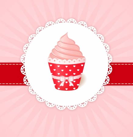 Vintage vector greetings card  Pink cream cupcake with ribbon Vector