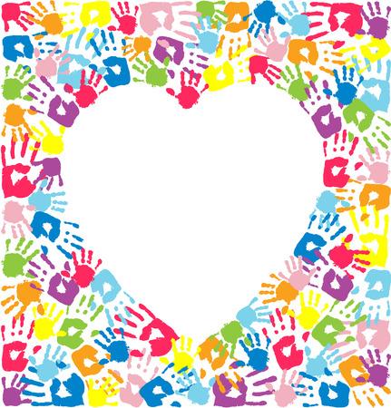 Coeur des empreintes de mains de père, la mère et les enfants Vecteurs