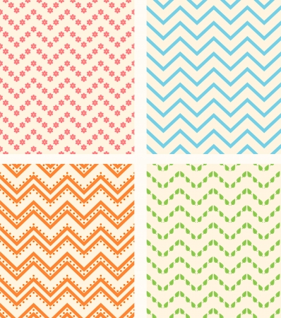 Set of retro zig zag seamless backgrounds