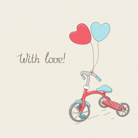 Tricycle and two heart-shaped balloons  Vintage greetings card  Hand written text  Illustration