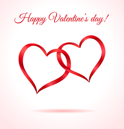 two hearts: Two red hearts  Valentine s card or background