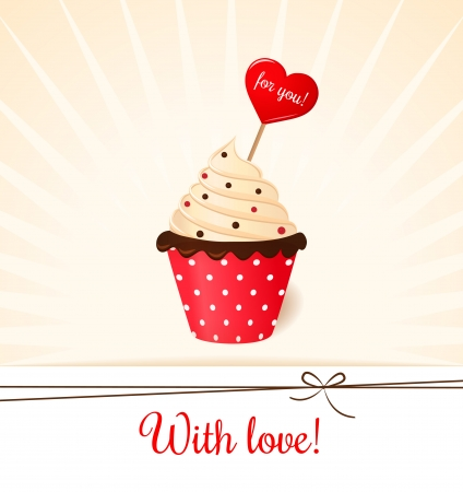Vintage Valentine s card with heart in cream cake  Vector