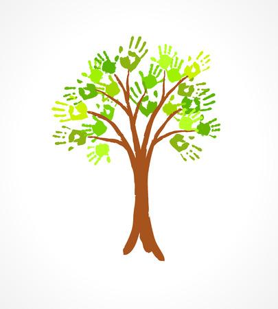 un arbre: Arbre vert avec des feuilles en empreinte de main Eco concept pour votre conception Illustration