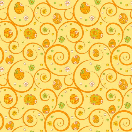 Orange easter seamless pattern with ornate eggs and swirls Vector