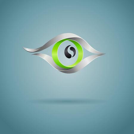 fond sombre: R�sum� oeil vert sur fond sombre, vecteur concept cr�atif