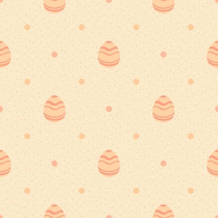 Beige polka dot pattern with ornate eggs Vector