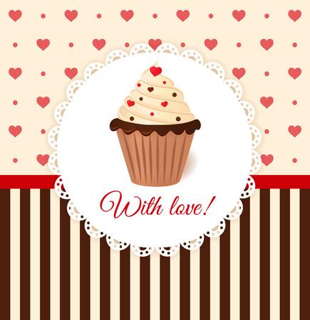 Vintage vector uitnodigingskaart met hartjes en crème taart