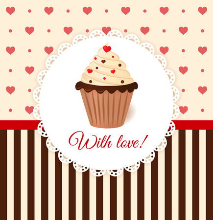 torta panna: Vintage vettoriale carta di invito con cuori e torta alla crema