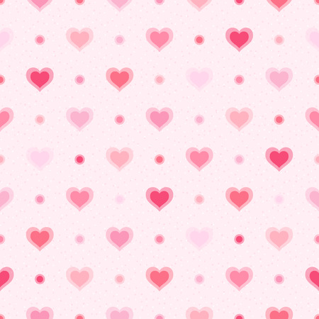 Pink retro seamless pattern  Hearts and dots on textured background