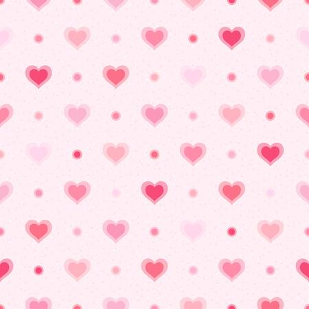 Roze retro naadloze patroon van harten en stippen op een gestructureerde achtergrond Stockfoto - 25658156