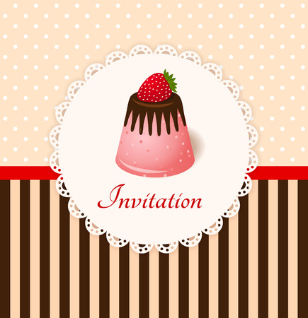 Vintage invitation card with strawberry chocolate jelly cake Vector