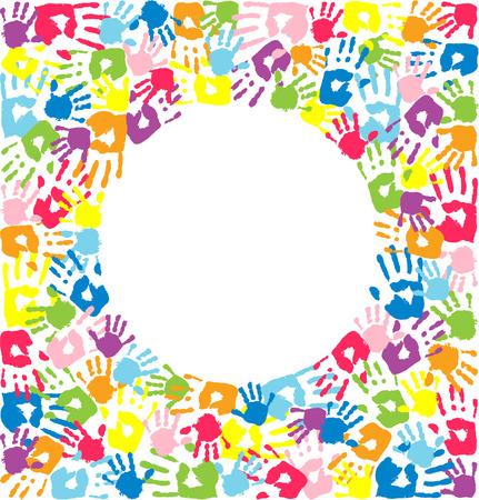 girotondo bambini: Circolo delle impronte di mani di padre, madre e figli