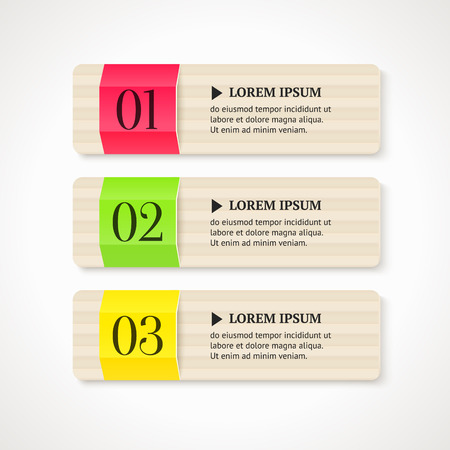 Numbered option banners on light background  Vector