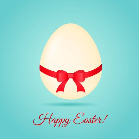 Egg with ribbon  Easter greetings card  Vector