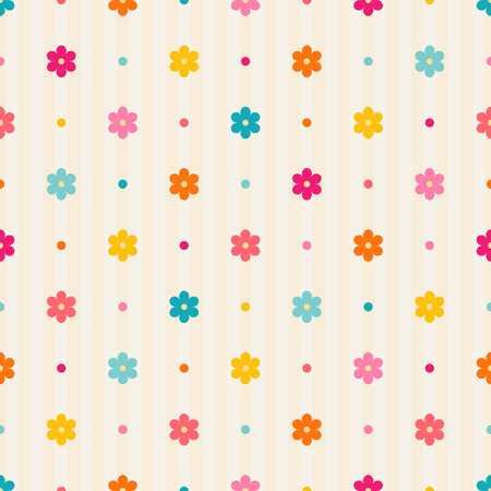 Retro seamless pattern  Color flowers and dots on beige striped background Vector