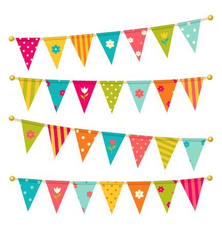 slingers: driehoek gors vlaggen met bloemen