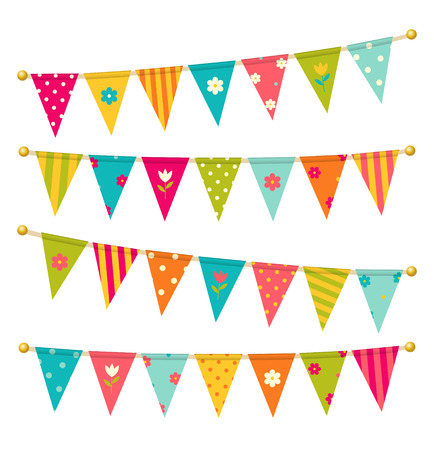 triangle bunting flags with flowers