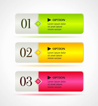 rectangle button: Shine horizontal colorful options banners or buttons template  Illustration