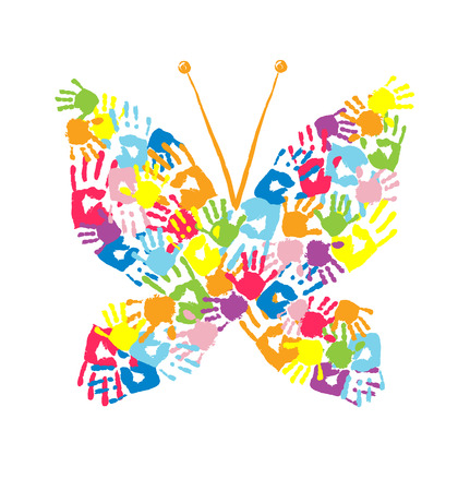 Butterfly of the handprints of parents and children Vector