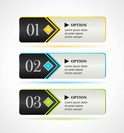 Horizontal black options banners or buttons with color elements Vector