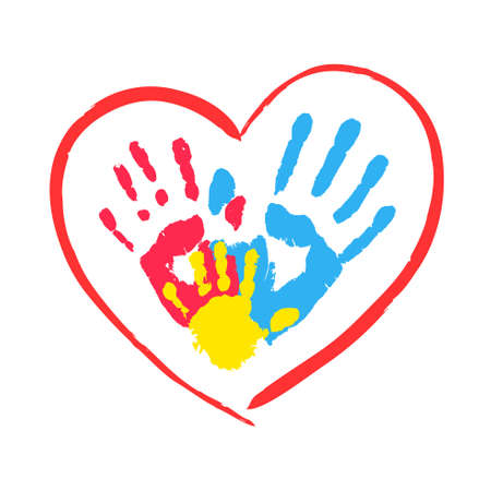 Parent and kid hands in a heart Stock Vector - 26584659
