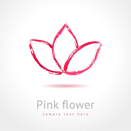 Pink flower  Spa concept  Flower business abstract symbol Vector
