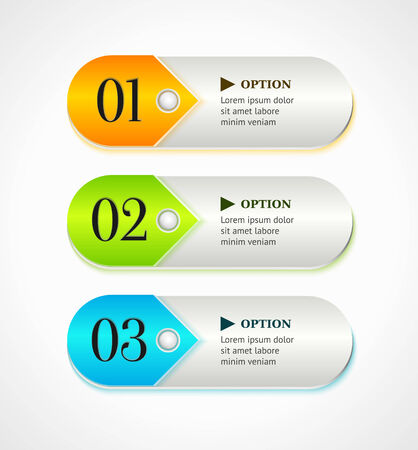 Shine horizontal colorful options banners or buttons. Vector template Vector