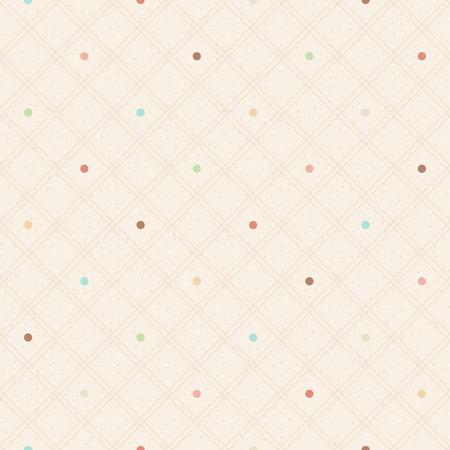 Checkered color seamless textured polka dots pattern Vector