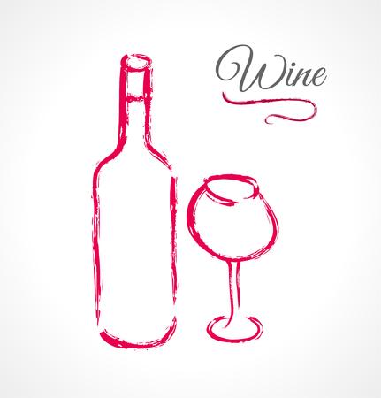 bocal: Bottiglia e bicchiere di vino in inchiostro tecnica grunge