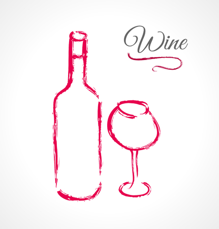 Bottle and glass of wine in ink grunge technique Vector