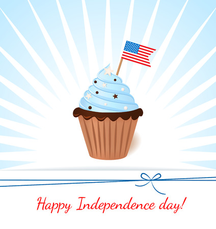 Greeting card with flag. American patriotic themed cupcake for the 4th of July. Vector