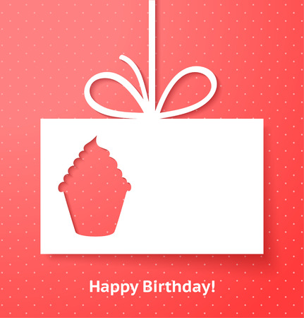 birthday greetings: Applique card or background with cupcake Illustration