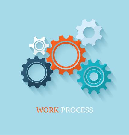 Engranajes color / los engranajes sobre fondo claro. Concepto de negocio. Diseño plano. Foto de archivo - 28527034
